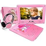 FUNAVO 9.5'' Tragbarer DVD-Player, Schwenkbaren Bildschirm, 4 Stunden Akku, Unterstützt SD-Karte und USB, mit Kopfhörer, Tragetasche, Auto-Ladegerät (Rosa)