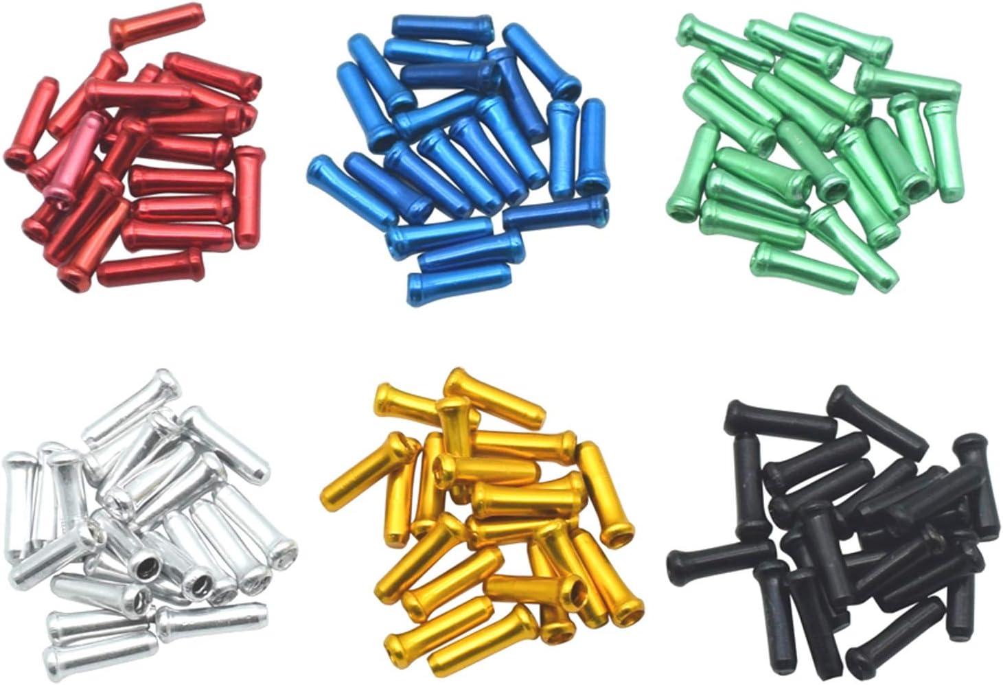 Tapa de Cable de Freno,100 PCS Engarces de Extremo de Cable Tapas de Extremo de Cable de Bicicleta Aluminio Puntas de Cable Interior de Palanca de Cambios para Bicicleta de Monta/ñ Muticolor
