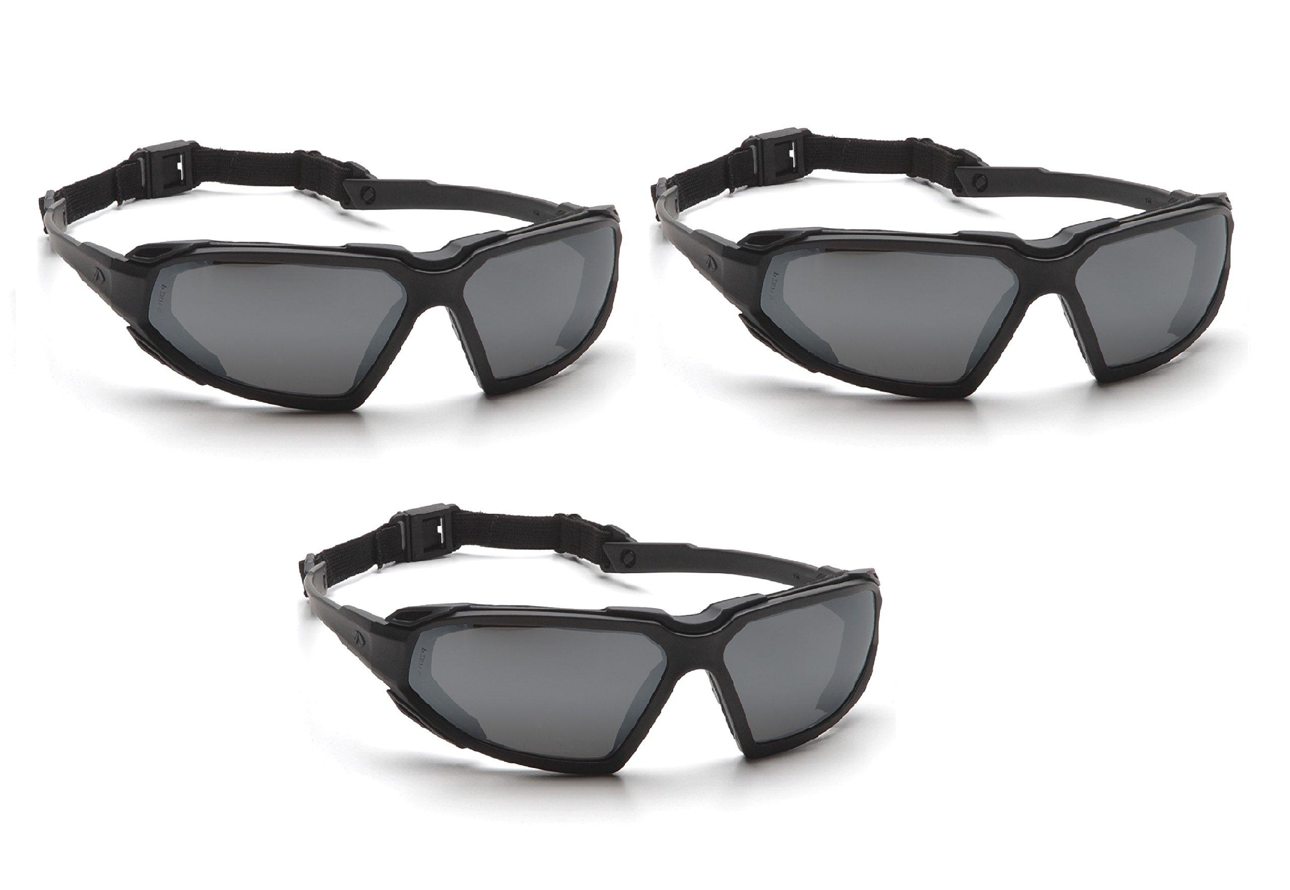 Highlander Pyramex Safety Eyewear (Black Frame/Gray Anti-Fog Lens) (3 Pair Pack) by Highlander