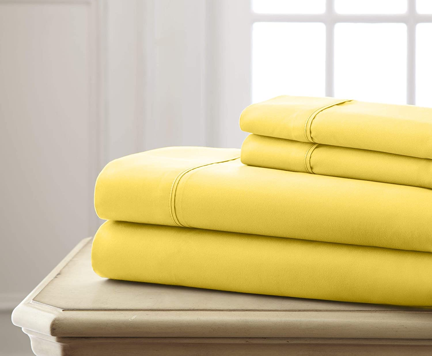 Queen Lime Spirit Linen Hotel 5Th Ave Super Bright Collection Microfiber Sheet Set