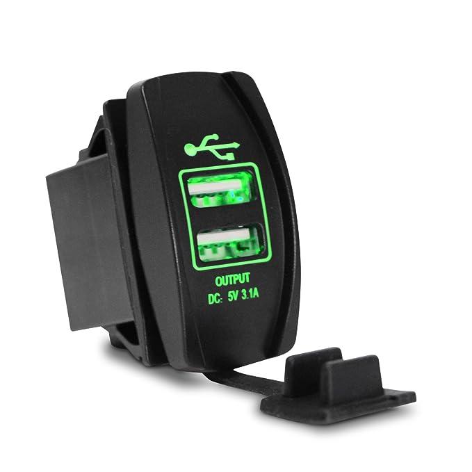powstro Cargador USB Dual Socket, 3.1 a 12 - 24 V para ...