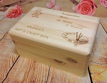 Caja de madera arte y artesanía, personalizable a medida tesoro regalo presente nuevo de recuerdo de madera natural con láser grabado almacenar recuerdos: ...