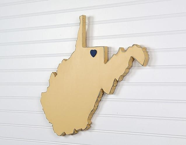 Amazon.com: West Virginia State Shape Wood Cutout Sign Wall Art. 16 ...