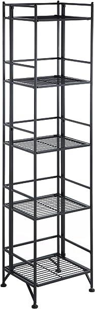 Convenience Concepts 8020B Designs2Go X-Tra Storage 2-Tier Folding Metal Shelf Black