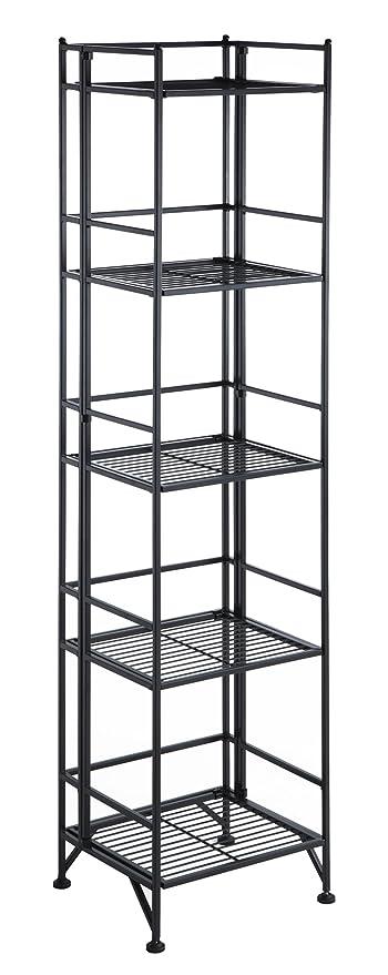 Convenience Concepts Designs2Go X Tra Storage 5 Tier Folding Metal Shelf Black