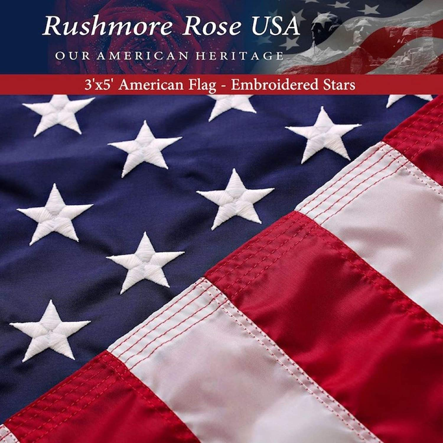 American Flag 3x5 - Made in USA. Premium US Flag. Embroidered Stars and Stripes - American Flags Made in America : Garden & Outdoor