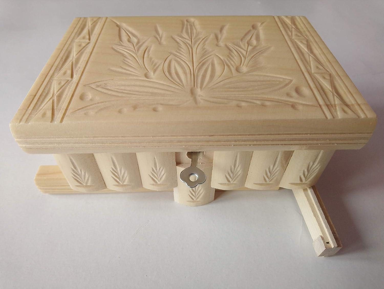 Nueva natural mano especial hermosa tallada caja de madera hecha a mano del rompecabezas, caja secreta mágica de joyería bromista de almacenaje del designe de la flor: Amazon.es: Handmade
