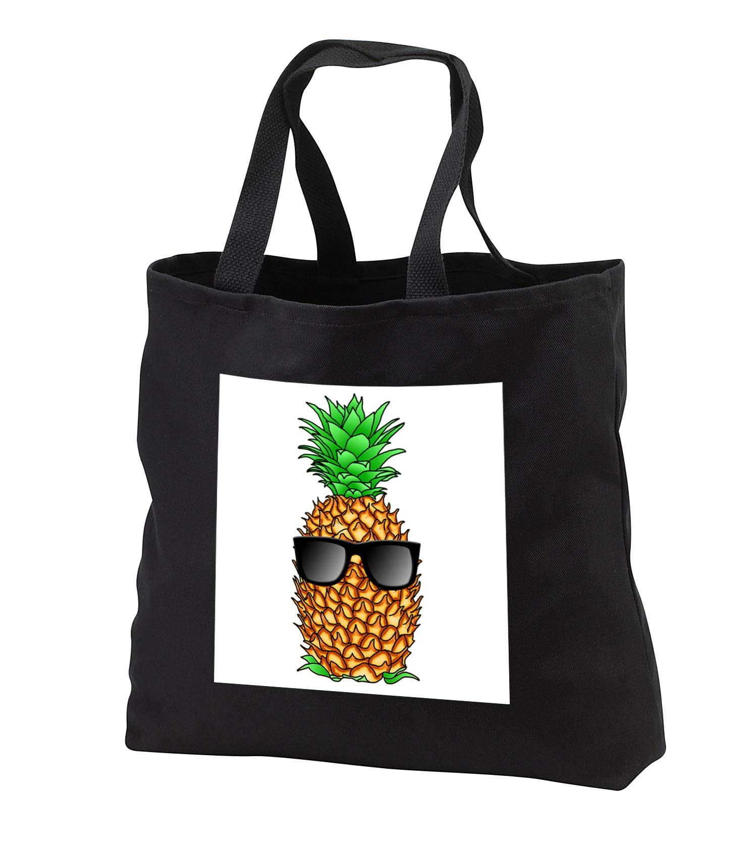 MacDonald Creative Studios – Pineapple - A funny cool tropical pineapple with sunglasses ready for the beach - Tote Bags - Black Tote Bag JUMBO 20w x 15h x 5d (tb_291867_3)