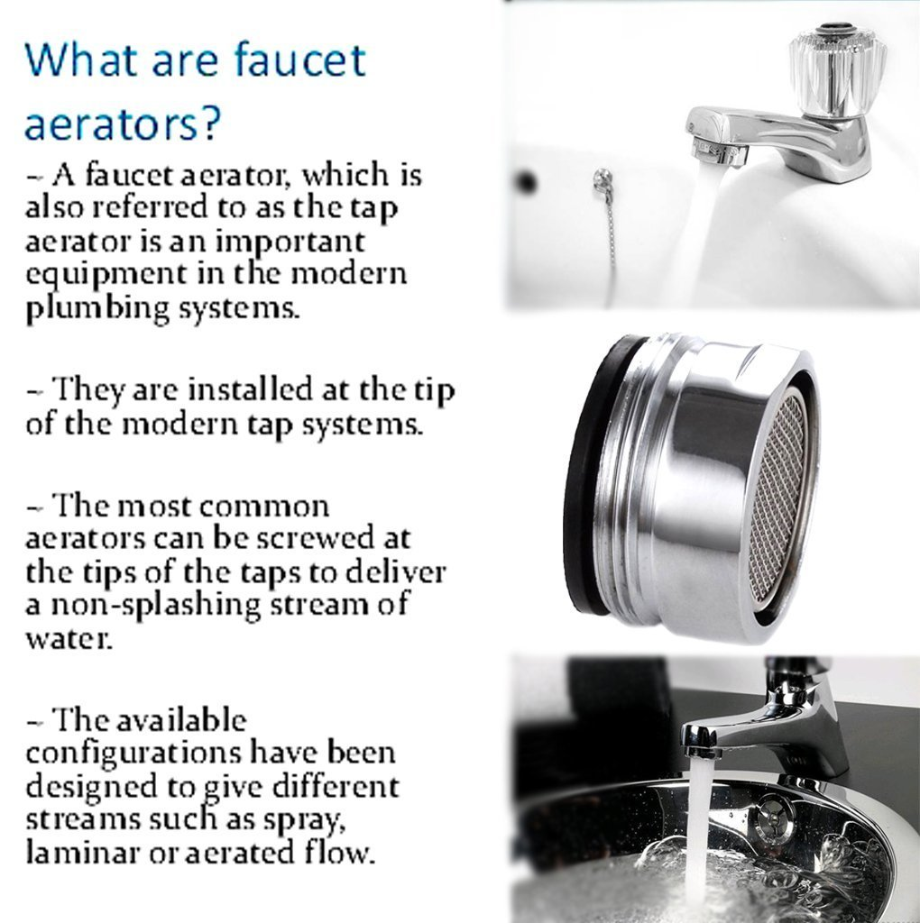 Sumnacon 6 Packs Low Flow Faucet Aerator - 24 mm Male Thread ...