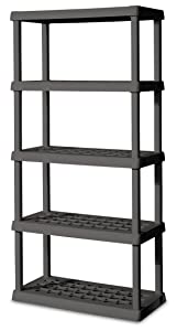 Sterilite 01553V01 5 Shelf Unit, Flat Gray Shelves & Legs, 1-Pack