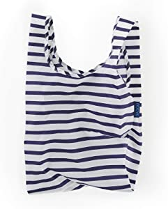BAGGU Small Reusable Shopping Bag, Ripstop Nylon Grocery Tote or Lunch Bag, Recycled Sailor Stripe
