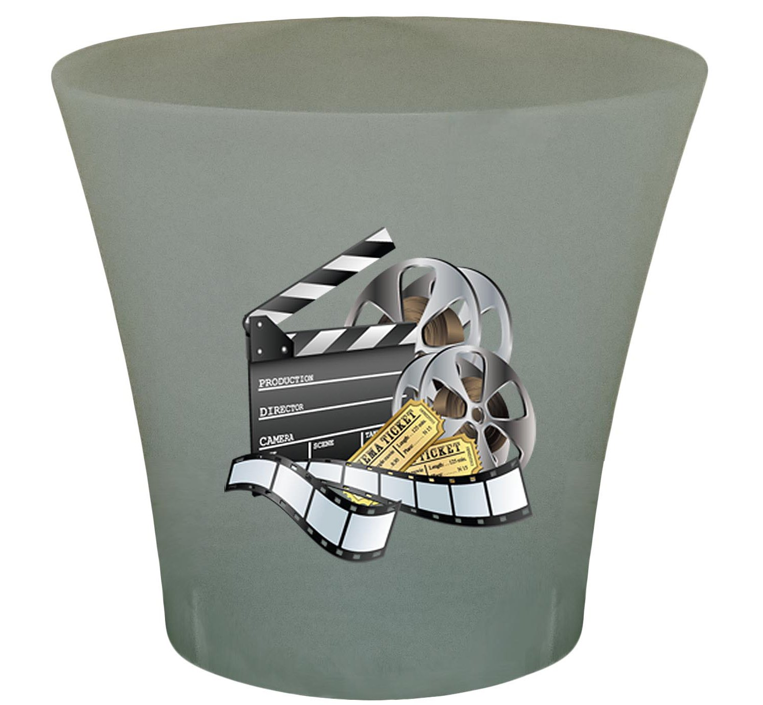 NEW! 3 Gallon Oval Shaped Wastebasket in a Grey Plastic Finish that Features Your Choice of a Novelty Theme Logo and a Free Trash Can Liner! (Movie Reel)