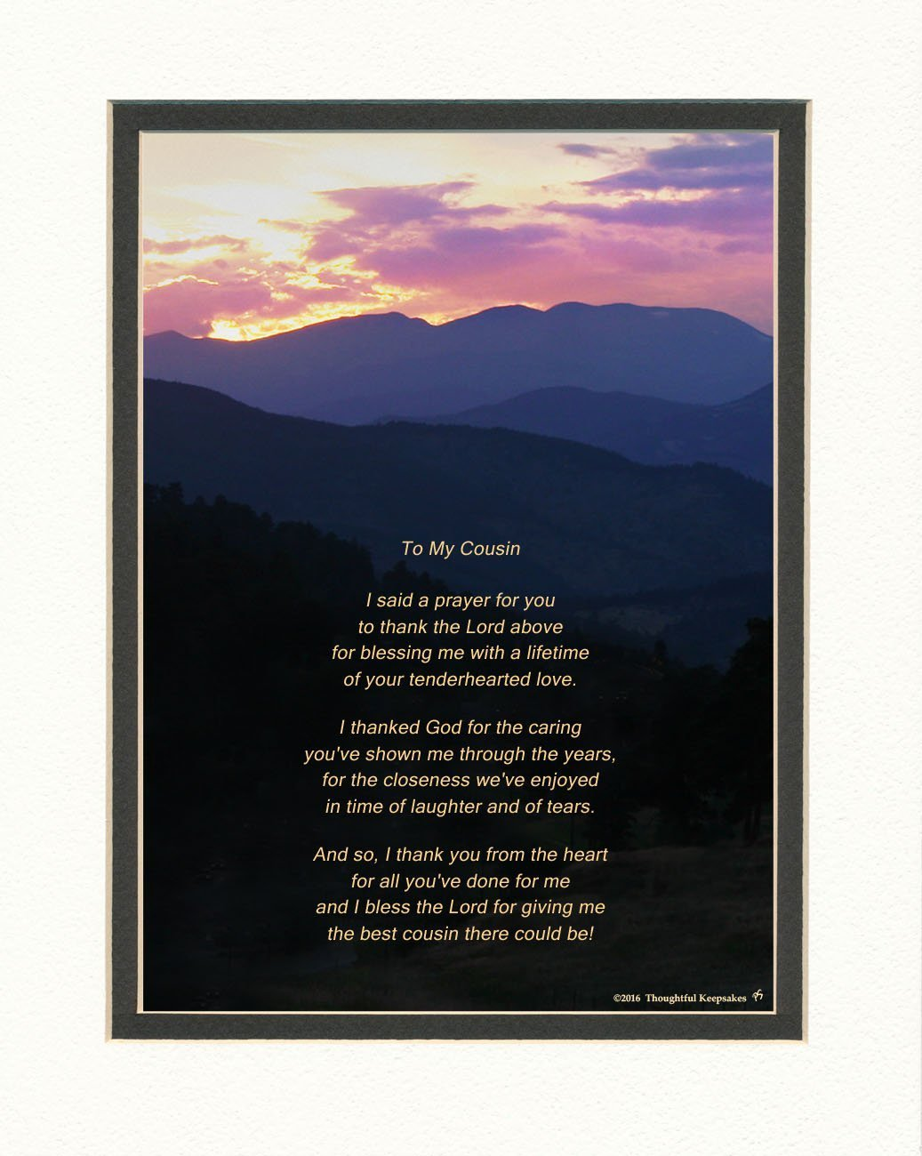 """Cousin Gift with """"Thank You Prayer for Best Cousin"""" Poem. Mts Sunset Photo, 8x10 Double Matted. Special Birthday, Christmas Gift for Cousin"""