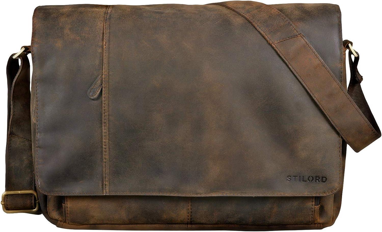 Marron STILORD Elias Sac en Bandouli/ère pour Homme Design Vintage Sac pour Ordinateur Portable 15,6 Pouces Besace en Cuir Couleur:Antique