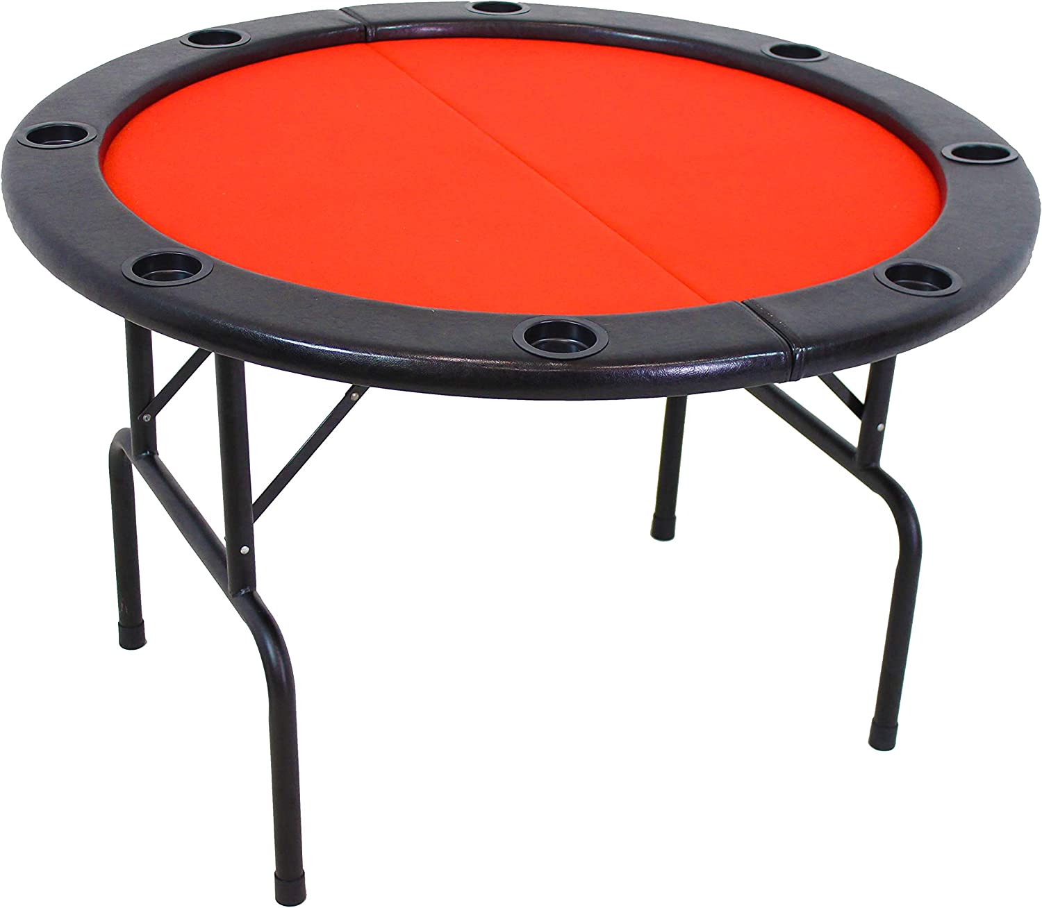 Amazon Com Sunnydaze Folding Round Poker Table For 6 Players With Cushioned Rail And Built In Cup Holders 47 Inch Diameter Sports Outdoors