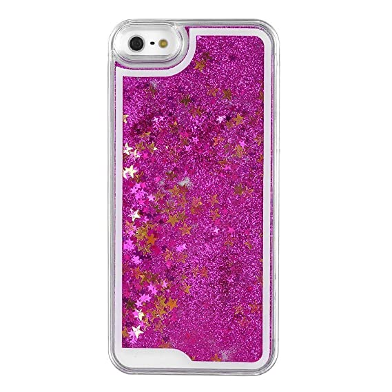 huge discount fb940 7b5b3 DStores iPhone 5 Case,iPhone 5s Case, Hot Pink Glitter Easy Grip Clear  Plastic Liquid Flowing Star Hard PC Anti-Scratch Back Cover Case for Apple  ...