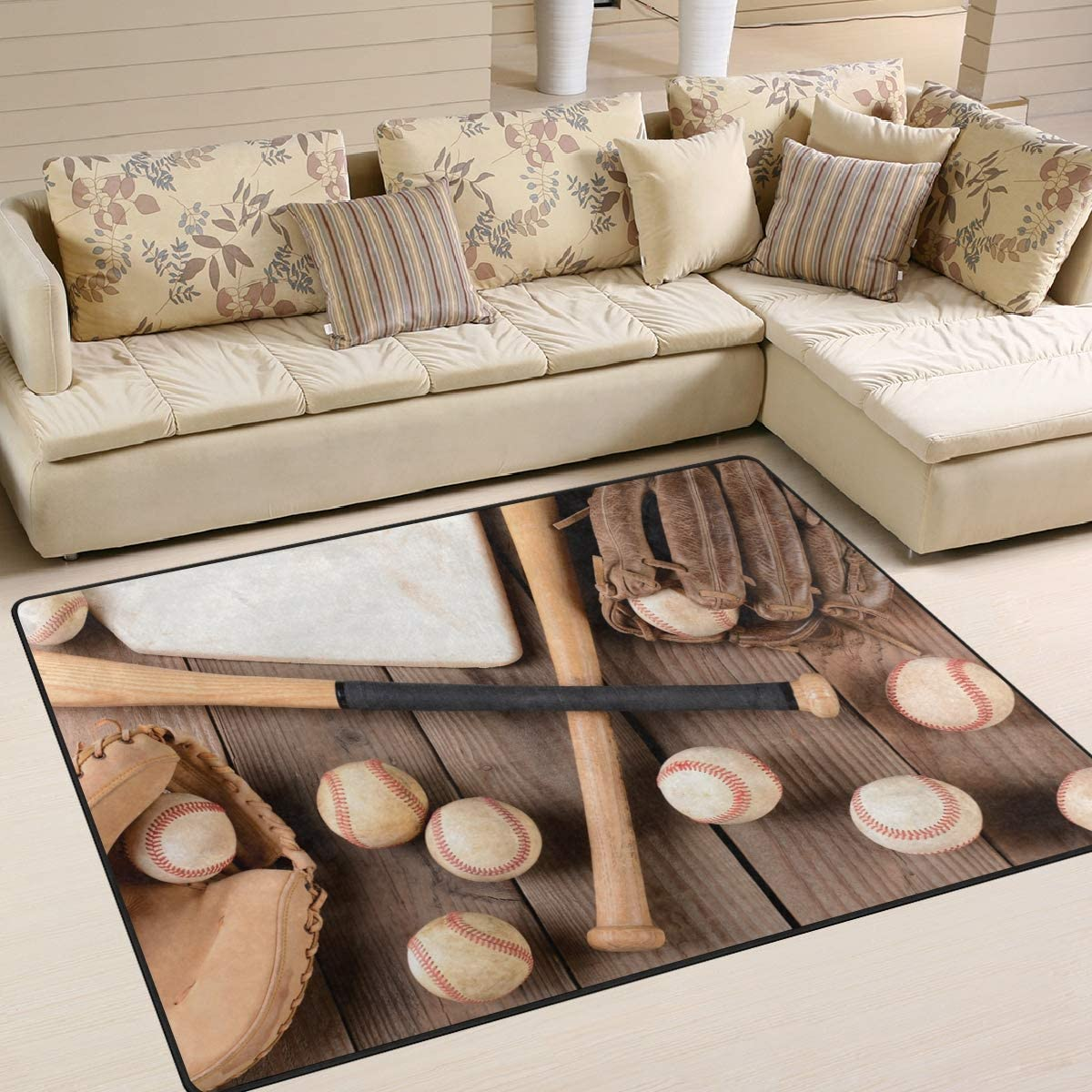 ALAZA Vintage Baseball on Wooden Sport Area Rug Rugs for Living Room Bedroom 7 x 5
