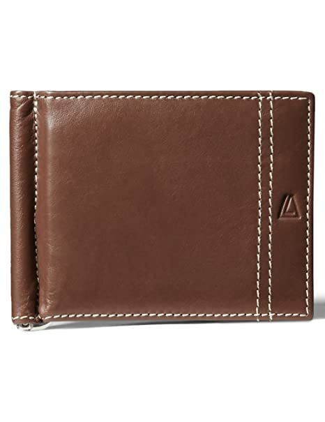 c58ba21eb4d9 Leather Architect Men's 100% Leather Bifold Top Flip RFID Blocking Wallet  with Money Clip