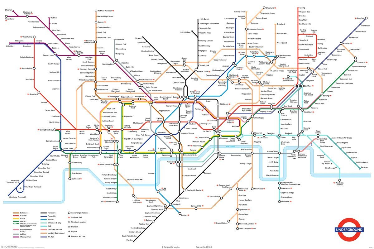 Large Tube Map Of London.Huge Laminated London Underground Tube Map Poster