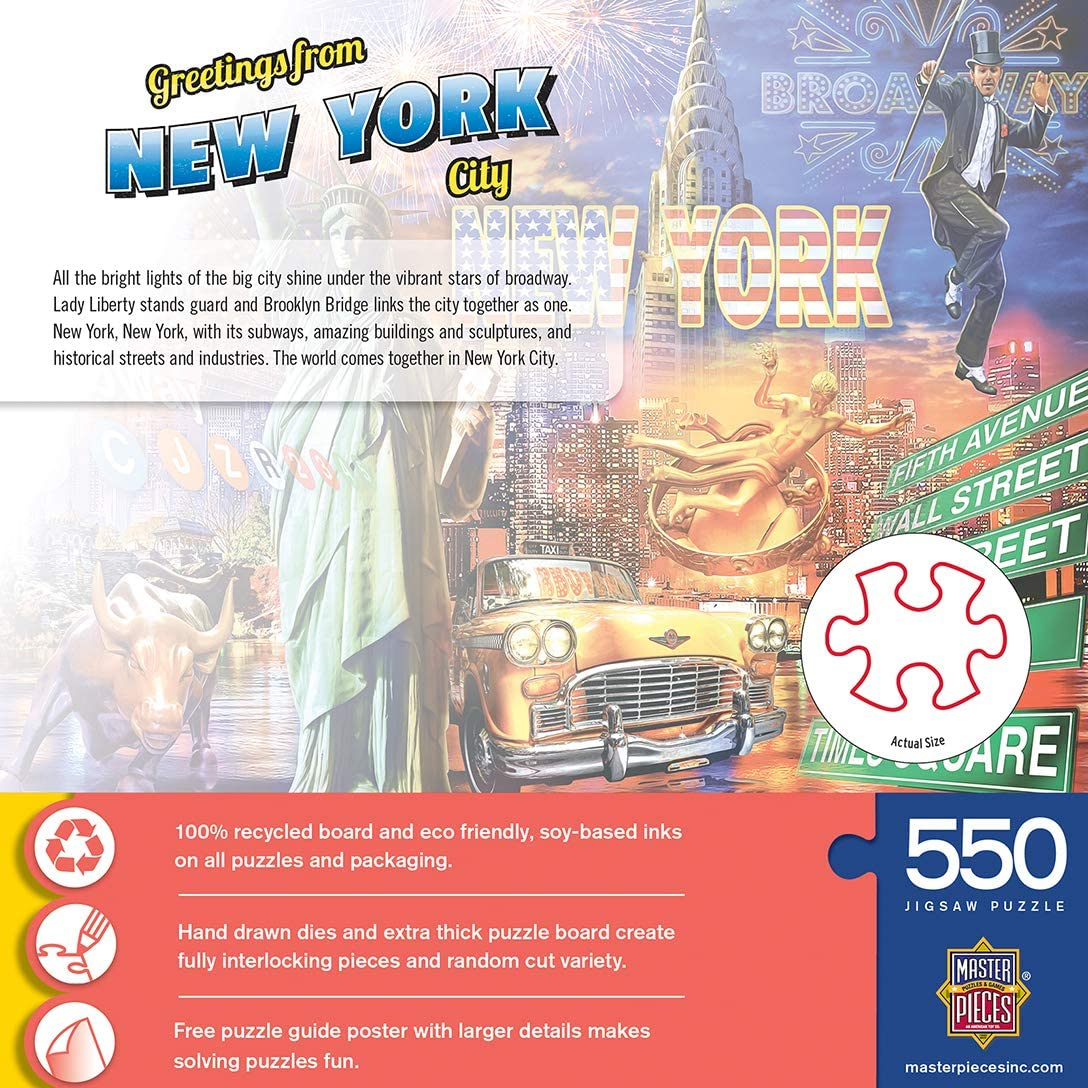 New York City 550 Piece Jigsaw Puzzle MasterPieces Greetings from Puzzles Collection