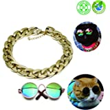 """Pet Sunglasses and Cool Gold Chain Necklace for Taking Pictures, Cat Glasses with Elastic Temples(3.15""""x 2.5""""x 1.1""""), Lightweight CCB Material Pet Gold Chain with 1.96"""" Adjustable Length(15"""" x0.78"""")"""