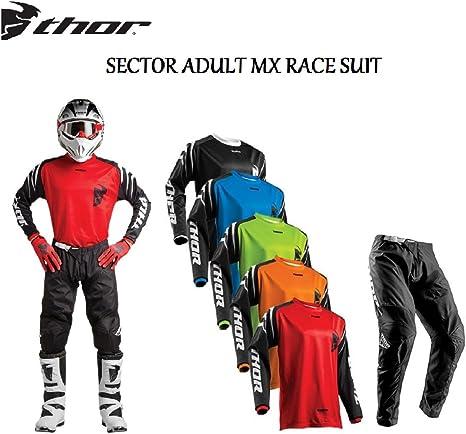 Blue THOR MX SECTOR LINK 2020 Adult Race Suit Motocross Shirt Trouser Quad Dirt Bike ATV Motorcycle Off Road Enduro BMX Jersey and Pant Set