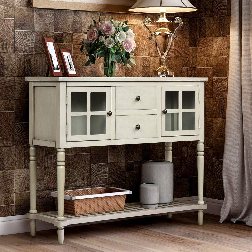 TREXM Sideboard Console Table with Bottom Shelf, Farmhouse Wood/Glass Buffet Storage Cabinet Living Room (Antique Grey)