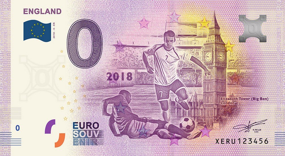 Coppa del mondo 2018 Inghilterra 0 Zero Euro Souvenir Germania