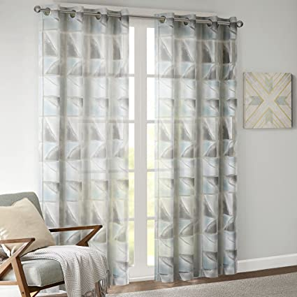 Delicieux JLA Home INC Grommet Sheer Curtains For Bedroom, Blaise Geometric Aqua  Sheer Curtain For Living