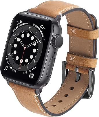 GerbGorb Leren armband, compatibel met Apple Watch 42 mm, 44 mm, 38 mm, 40 mm, vintage leren horlogeband met iWatch serie 6/5/4/3/2/1/SE, voor mannen en vrouwen