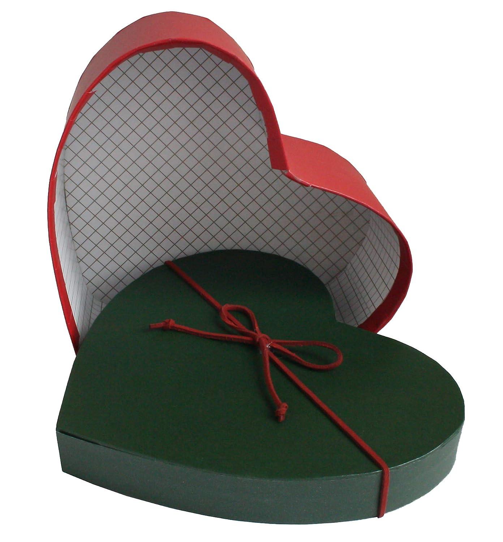 Scatola Verde Con Coperchio Rosso Bianco a Quadri Interno e Nastro Verde Emartbuy Set di 3 Lusso Rigido a Forma di Cuore Confezione Regalo di Presentazione