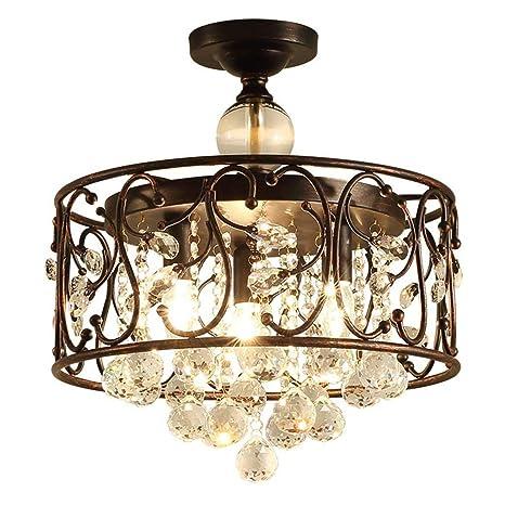 Lámpara de cristal redonda antigua Lámpara colgante Metal ...