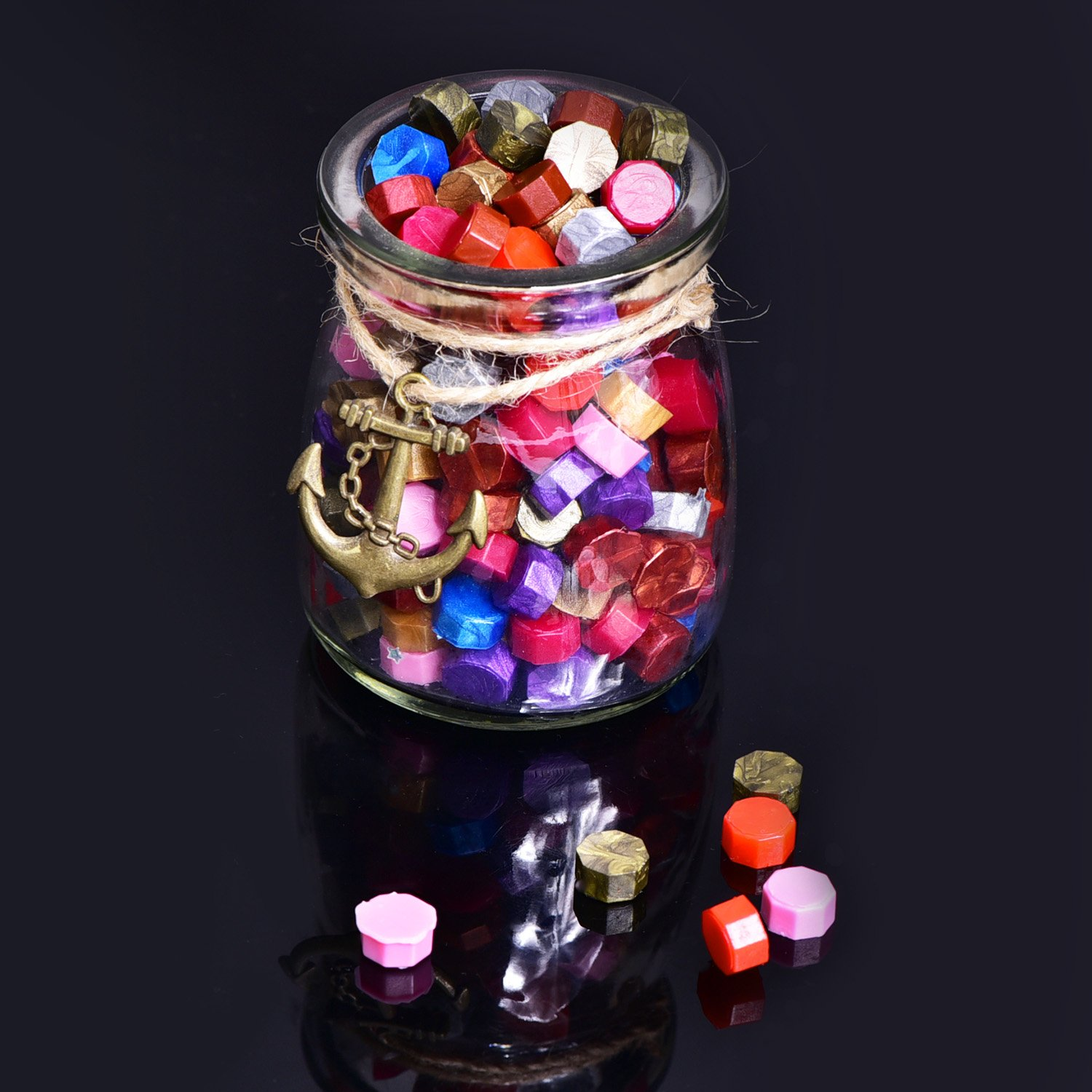 230 Pieces Octagon Sealing Wax Beads Sticks with 2 Pieces Tea Candles and 1 Piece Wax Melting Spoon for Wax Stamp Sealing Bronze Gold