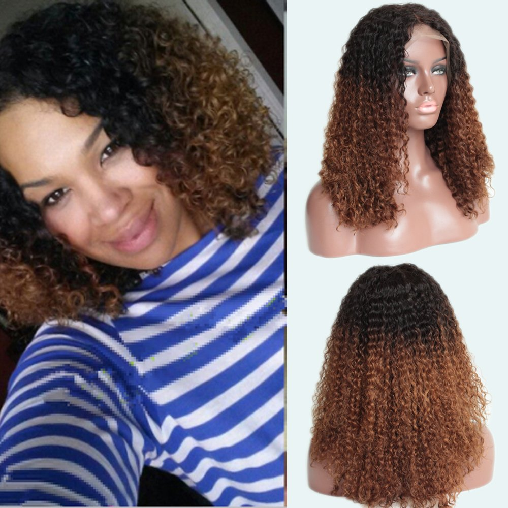 Amazon.com   TopFeeling Ombre Kinky Curly Wigs Brazilian Short Human Hair  Lace Front Wig Afro Curly Ombre Color Wigs Two Tone for Black Women   Beauty 8a55de12c456