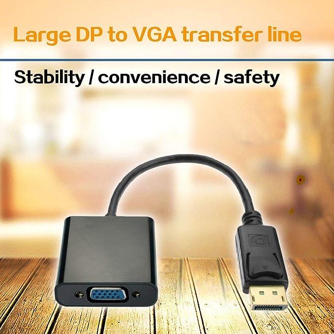 Jasnyfall Displayport DP zu VGA Adapter Stecker zu Buchse Kabel Konverter Display Port Adapter Schwarz