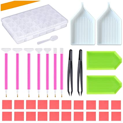 DIY Diamond dotz Painting Accessories Kits for Adults Cross Stitch Tools  Including Painting Pen, Different Types of Plastic Tray, Plastic Tweezer