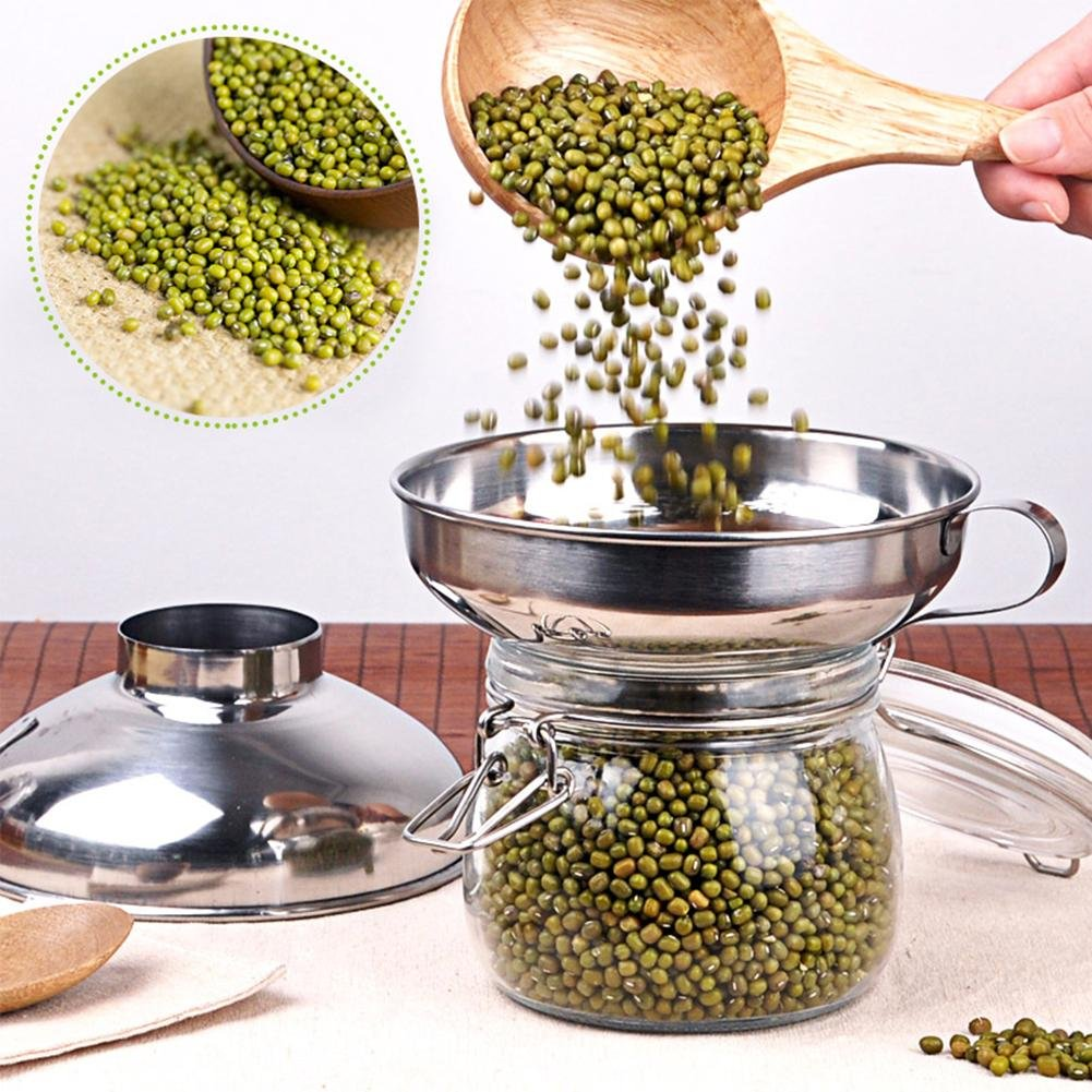 Stainless Steel Wide-Mouth Canning Funnel with Handle Spice Funnel with Handle for Spice Jars