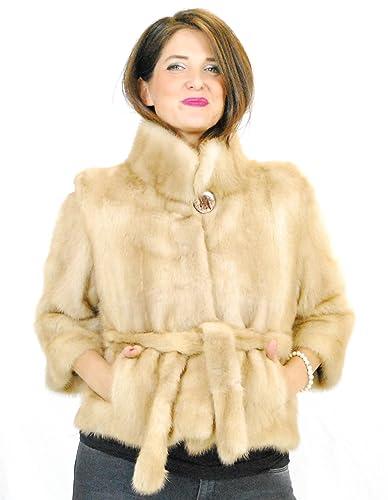 42 Jacket beige fur mink fur belt pelz nerz pelliccia visone норка fourrure vison