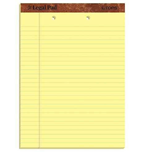 "Amazon.com : TOPS The Legal Pad Writing Pads, 8-1/2"" x 11-3/4 ..."