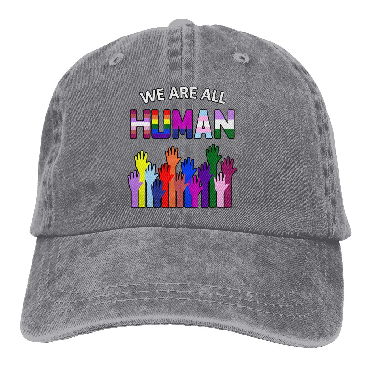 Men Women Distressed Denim Fabric Baseball Cap We are All Human LGBT Gay Hiphop Cap