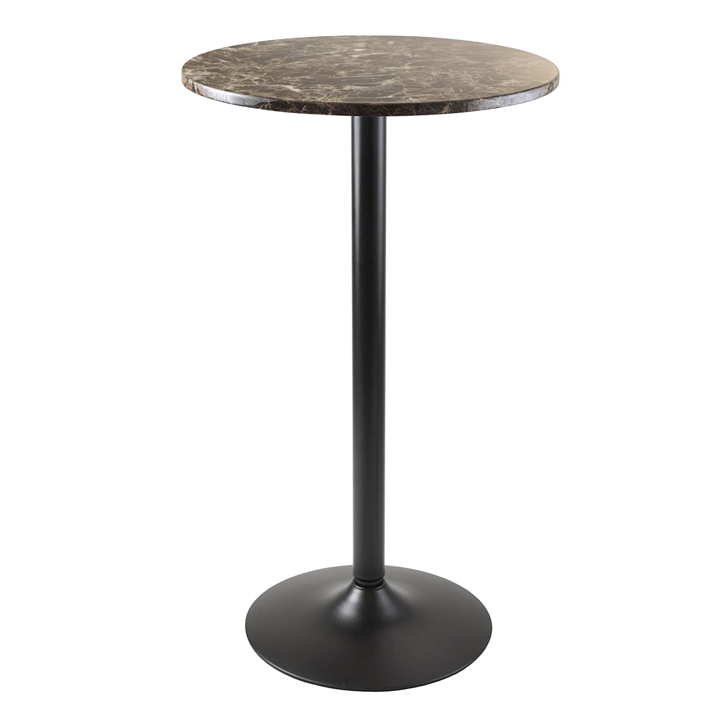Winsome Wood Cora Round Bar Height Pub Table with Faux Marble Top, Black Base