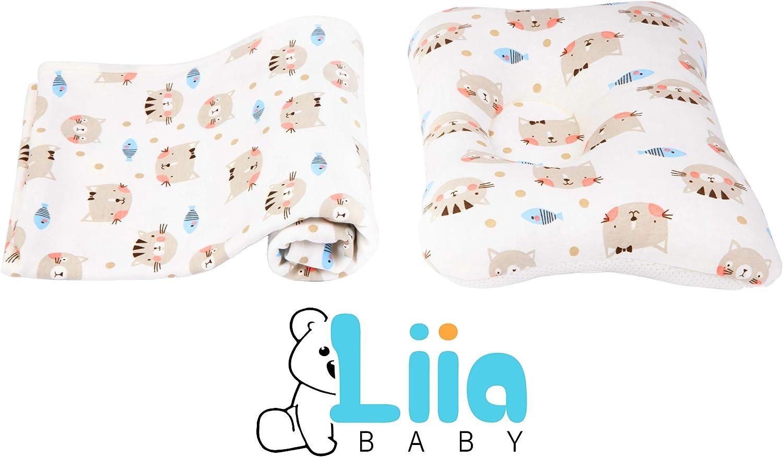 Liia® Cojín Ortopédico Plagiocefalia con Manta - Bebés 0-24 meses - Para prevenir y tratar la cabeza plana - Universal para cuna, silla de paseo, anti-asfixia, anti-reflujo