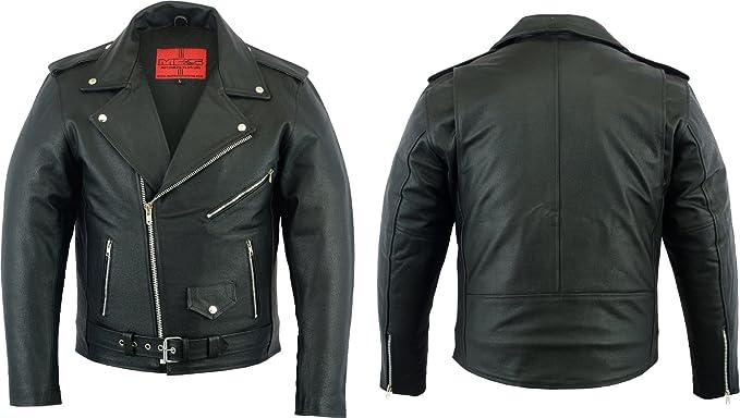 UK Stock Mens Classic Real Leather Brando Jacket Biker Motorbike Vintage S-5XL