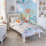 """Riva Paoletti Kids Woodland Animals Single Duvet Set - 1 x Pillowcase Included - Cream and Green - Reversible - Machine Washable - 137 x 200cm (54"""" x 79"""" inches) - Designed in the UK"""