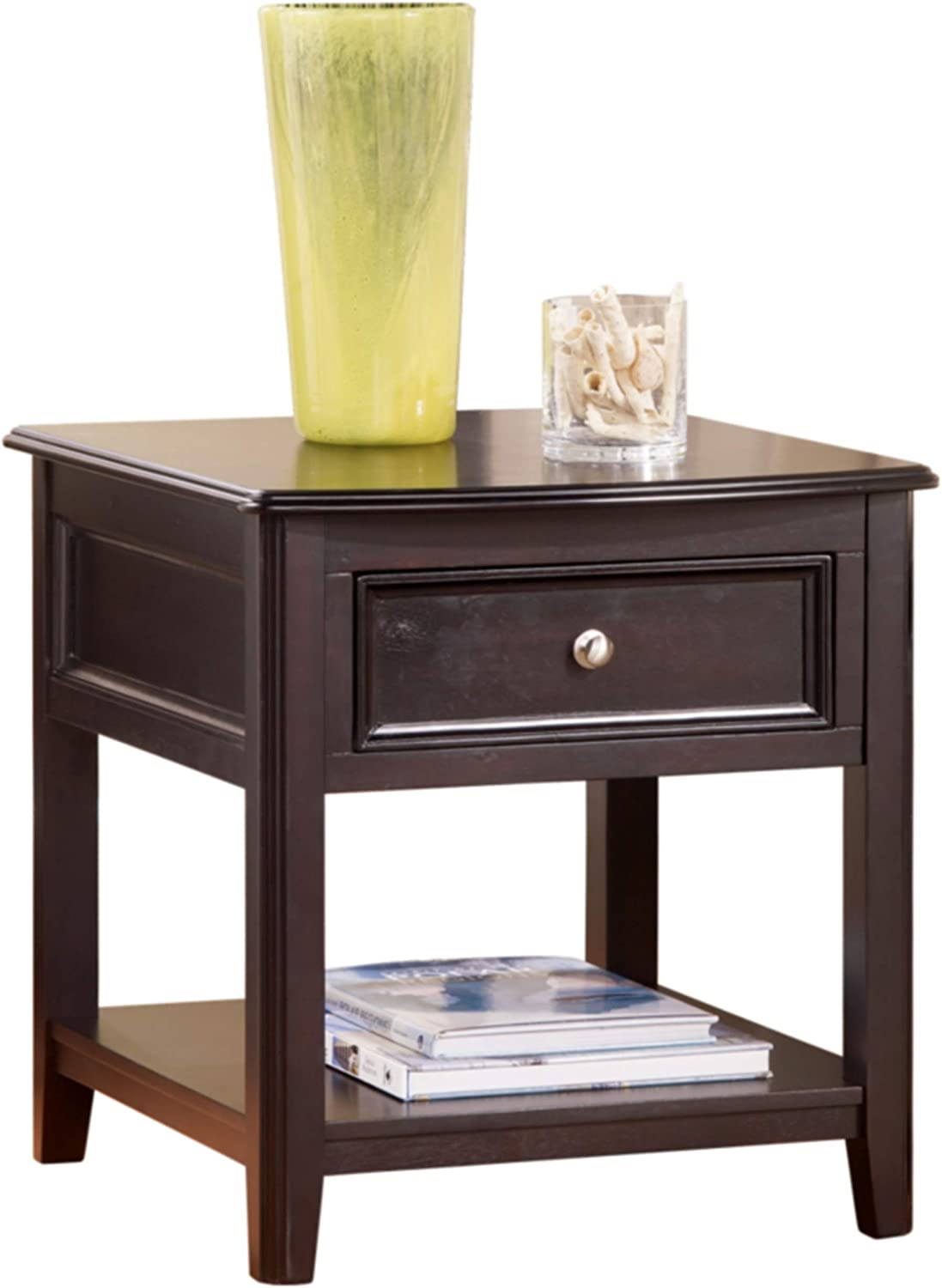 Signature Design By Ashley Carlyle End Table Rectangular With 1 Drawer And 1 Shelf Almost Black Amazon Ca Home Kitchen