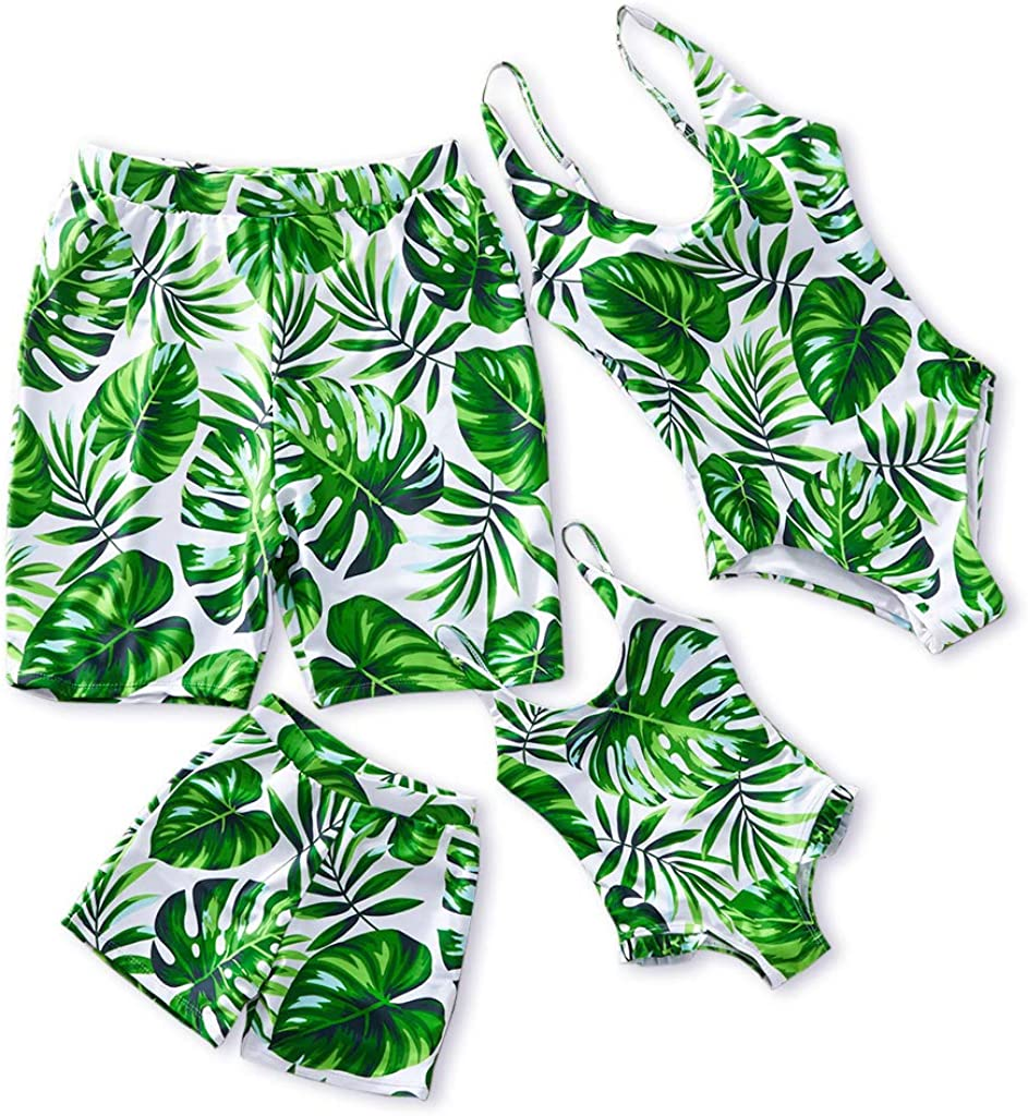 Yaffi Mommy and Me Family Matching Swimsuit One Piece Beach Wear Summer Leaves Sporty Monokini Bathing Suit