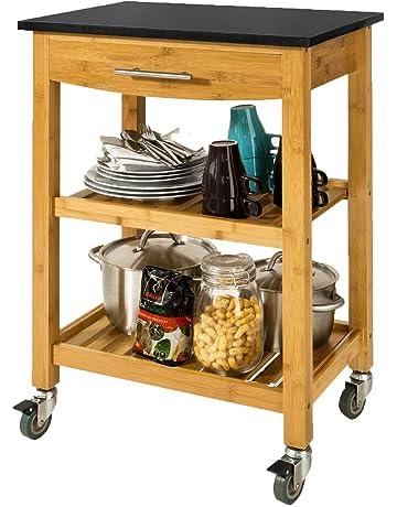 SoBuy® Carrito de cocina con piso de granito, estantería de cocina, carrito de
