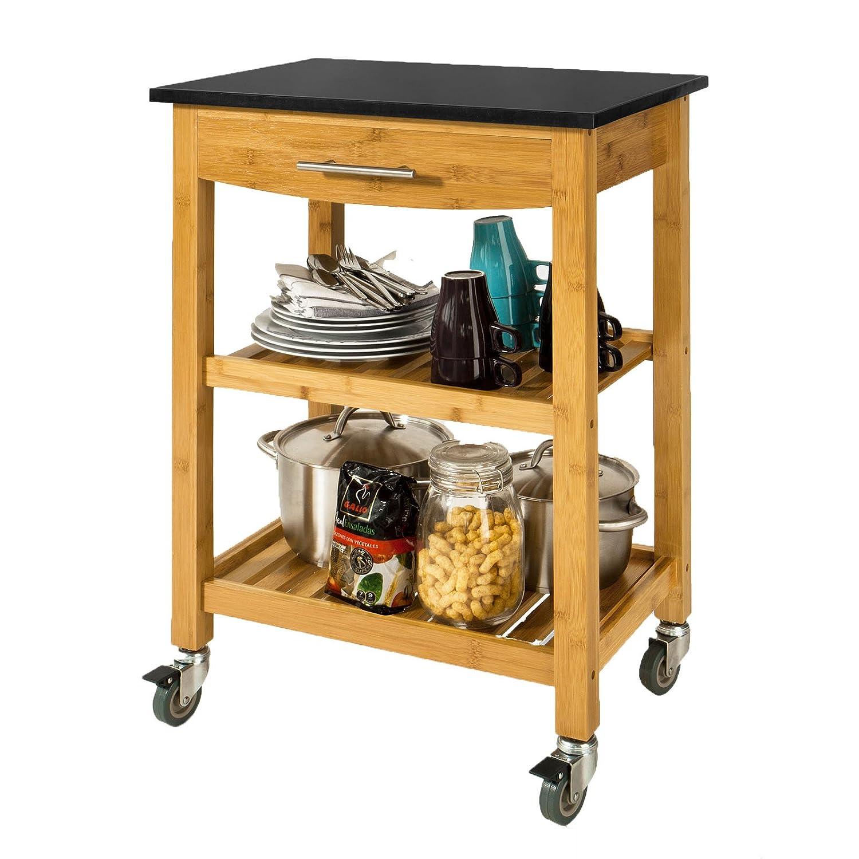 Küchenwagen mit granitplatte  SoBuy® Servierwagen, Küchenwagen, Küchenregal aus Bambus mit ...