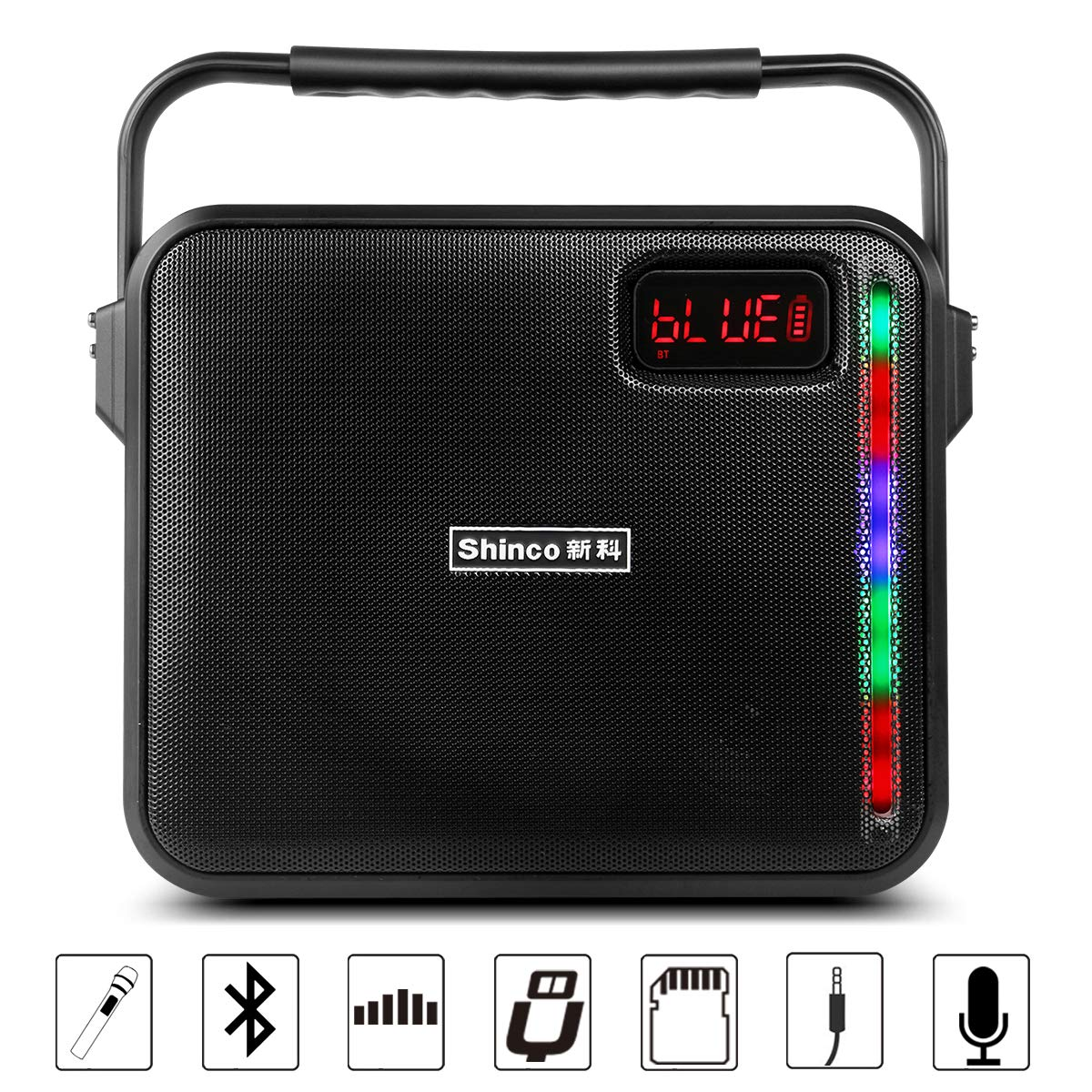Shinco Portable PA Speaker Bluetooth Karaoke Machine Battery Powered PA System with 1 Wireless Microphone, AUX Cable USB Charging for Smartphone and Tablet