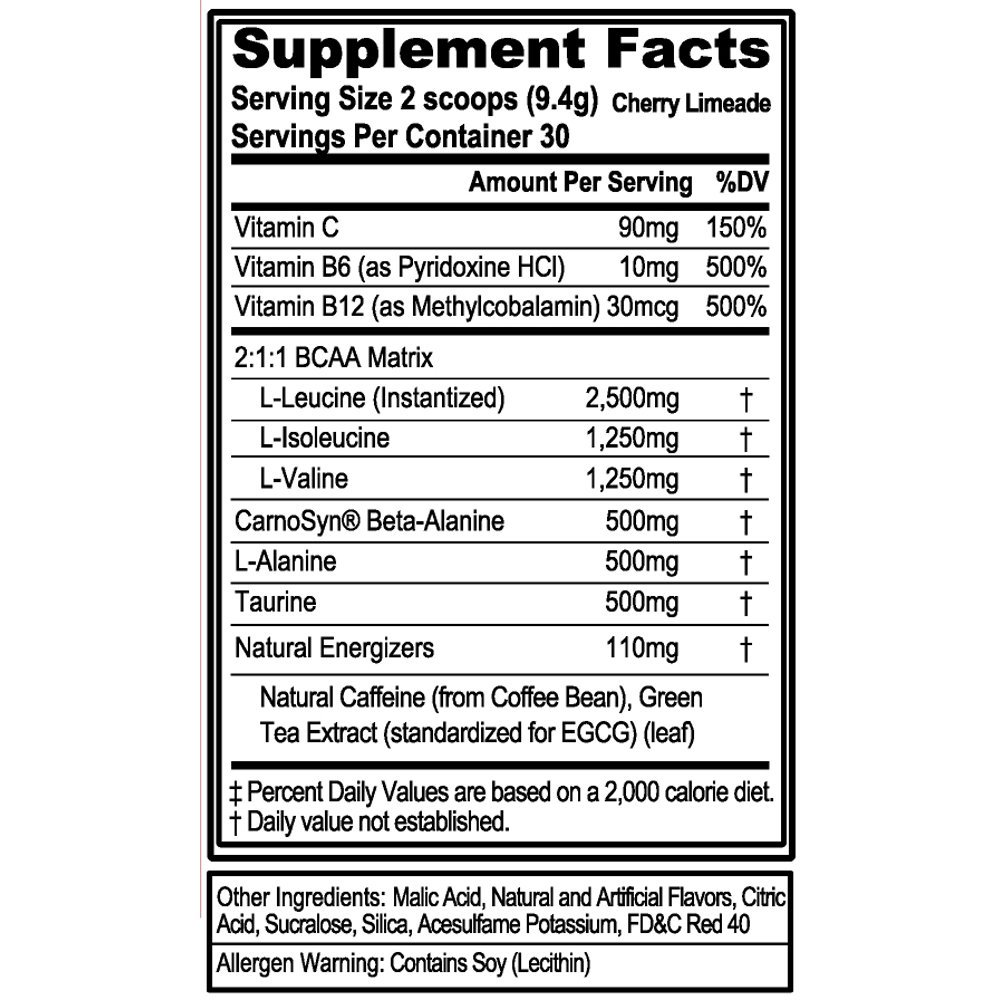 Evlution Nutrition BCAA Energy – High Performance, Energizing Amino Acid Supplement for Muscle Building, Recovery, and Endurance, Cherry Limeade 30 Servings